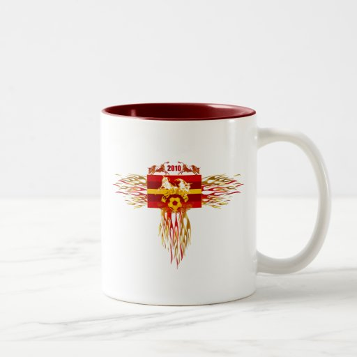 Spain soccer futbol fire logo tees and gifts mug