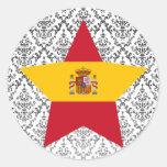 Spain Star Round Stickers