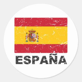 Spain Vintage Flag Classic Round Sticker
