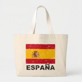 Spain Vintage Flag Large Tote Bag