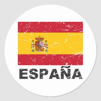 Spain Vintage Flag Round Sticker