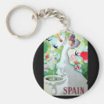 Spain Vintage Image Basic Round Button Key Ring