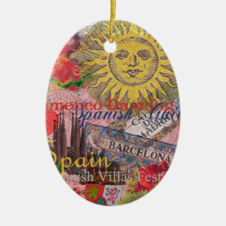 Spain Vintage Trendy Spanish Travel Collage Christmas Ornament