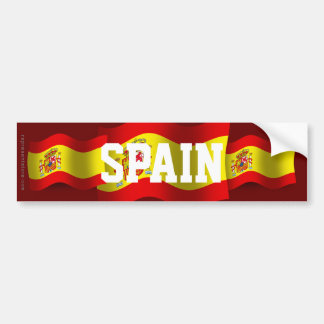 Spain Waving Flag Bumper Sticker