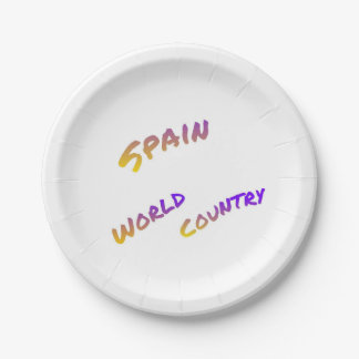 Spain world country, colorful text art 7 inch paper plate