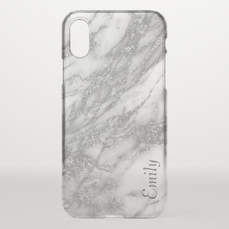 Spangle Silver Marble Texture With Your Name iPhone X Case