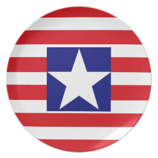 Spangled Banner American Flag Red White Stripes. Plate