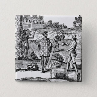 Spaniard Bartering with Natives of Patagonia 15 Cm Square Badge