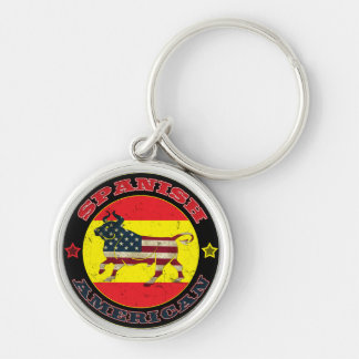 Spanish American Bull Silver-Colored Round Key Ring