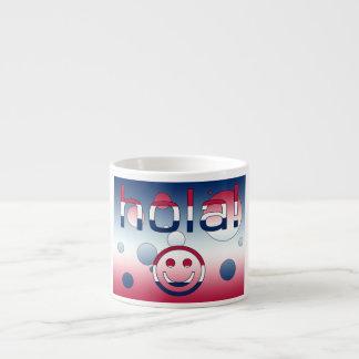 Spanish American Gifts  Hello / Hola + Smiley Face Espresso Mug
