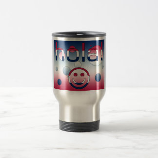 Spanish American Gifts  Hello / Hola + Smiley Face Stainless Steel Travel Mug