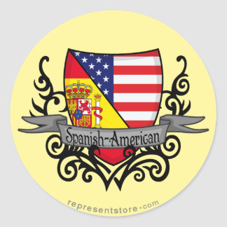 Spanish-American Shield Flag Classic Round Sticker