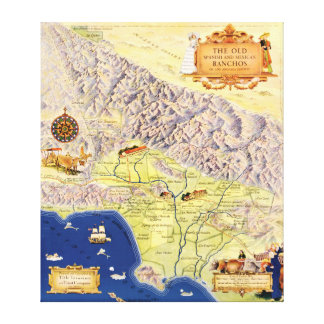 Spanish and Mexican Ranchos of Los Angeles Map Canvas Print