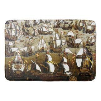 Spanish Armada and English ships  bath mat Bath Mats