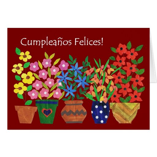 Spanish Birthday Card - Flower Power!
