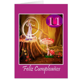 Spanish birthday for 11 year old girl with fairy greeting card