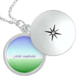 Spanish Birthday Green Blue Sterling Silver Locket