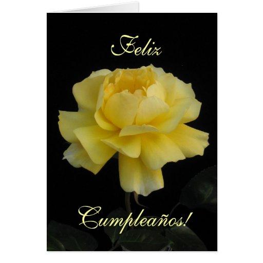 Spanish: birthday rose/ Cumpleanos, rosa Greeting Cards