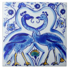 Spanish Blue & White Birds Ceramic Photo Tile