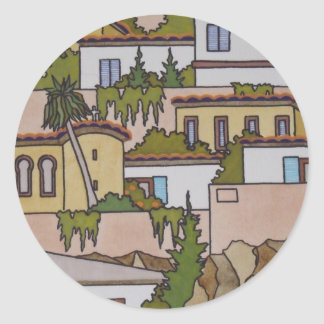 Spanish Buildings And Church Round Sticker