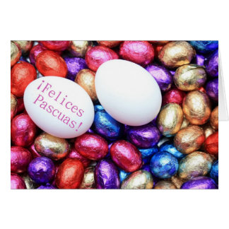 spanish chocolate eggs easter greeting card