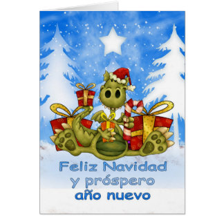 Spanish Christmas Card - Cute Dragon - Feliz Navid