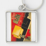 Spanish Civil War Anarchist / Facism Rare Poster Silver-Colored Square Key Ring