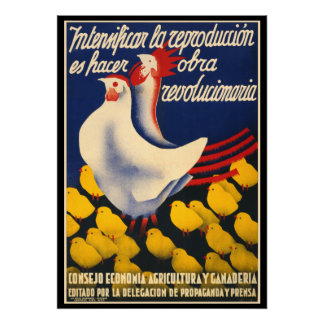 Spanish Civil War Chicken Propoganda Poster