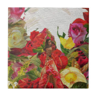 Spanish Dancer Roses Textured Small Square Tile