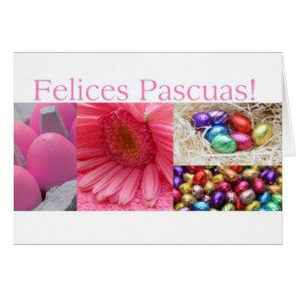 spanish easter greeting pink collage greeting card