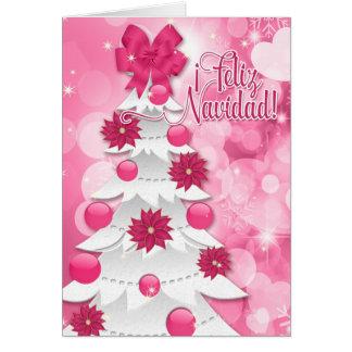 Spanish Feliz Navidad Pink Poinsettia Christmas Card