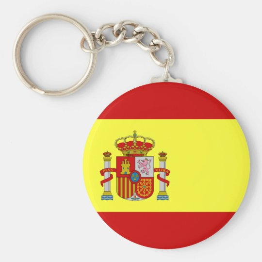 Spanish Flag Bandera Española Basic Round Button Key Ring