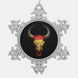 Spanish Flag Bull Skull on Black Ornament
