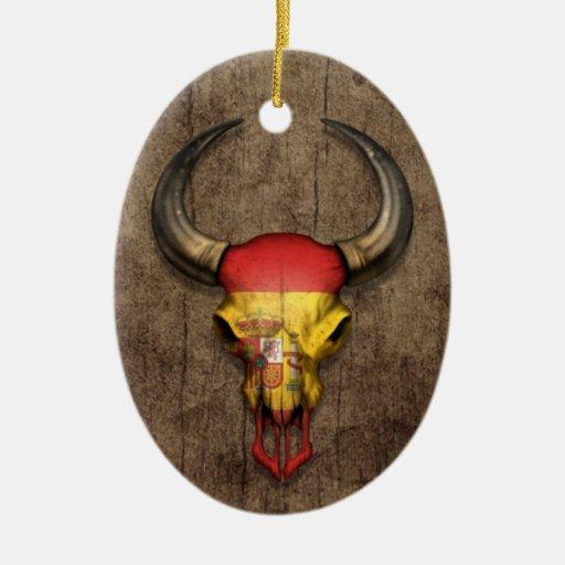 Spanish Flag Bull Skull on Wood Effect Christmas Ornament