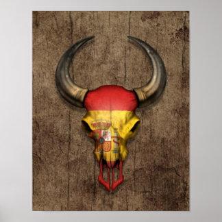 Spanish Flag Bull Skull on Wood Effect Posters
