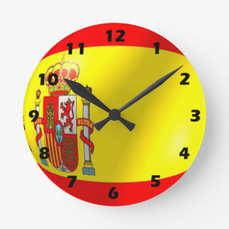 Spanish Flag Design Round Clock
