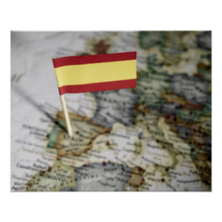 Spanish flag in map poster