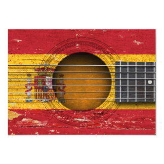 Spanish Flag on Old Acoustic Guitar Card
