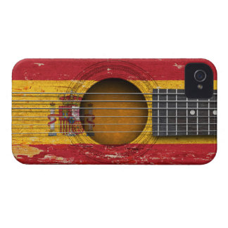 Spanish Flag on Old Acoustic Guitar iPhone 4 Case