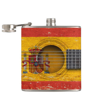Spanish Flag on Old Acoustic Guitar Hip Flask