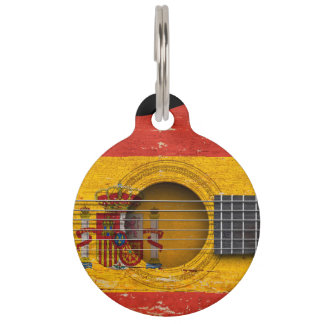 Spanish Flag on Old Acoustic Guitar Pet Nametag