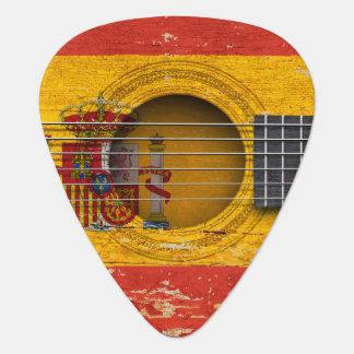 Spanish Flag on Old Acoustic Guitar Plectrum