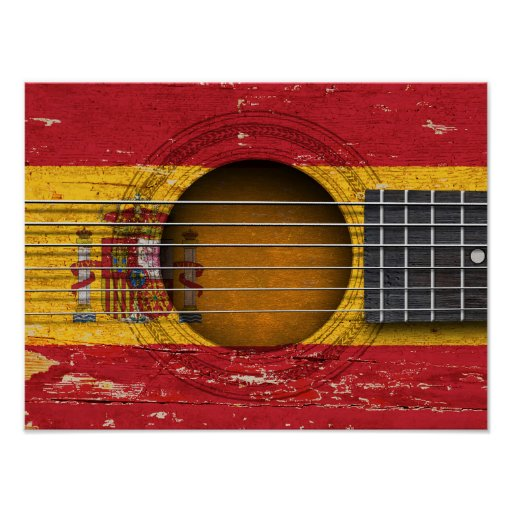 Spanish Flag on Old Acoustic Guitar Print