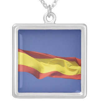 Spanish Flag RF) Silver Plated Necklace