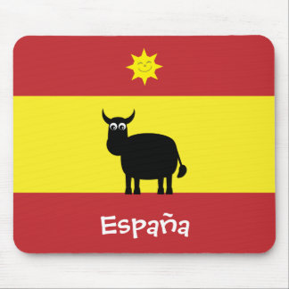 Spanish Flag With Cute Bull & Smiling Sun Mouse Mat