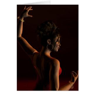 Spanish Flamenco Dancer on a Dark Stage Card
