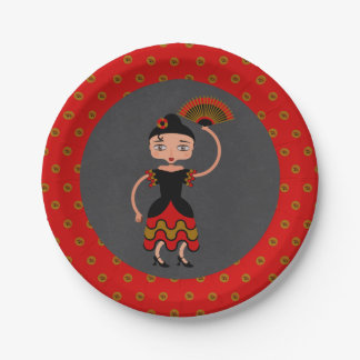 Spanish Flamengo Dancing Birthday Party 7 Inch Paper Plate