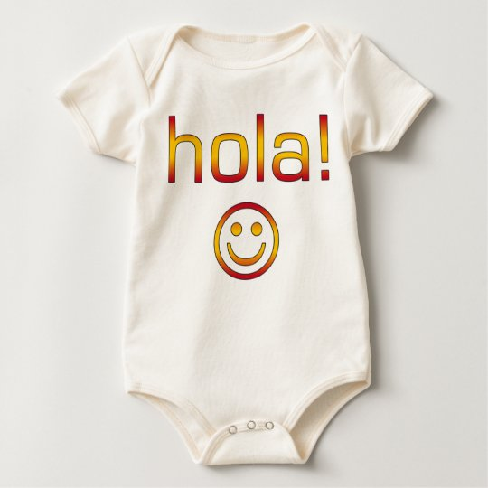 Spanish Gifts : Hello / Hola + Smiley Face Baby Bodysuit