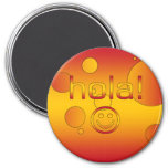Spanish Gifts : Hello / Hola + Smiley Face 7.5 Cm Round Magnet