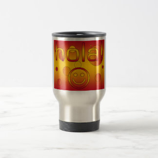 Spanish Gifts : Hello / Hola + Smiley Face Stainless Steel Travel Mug